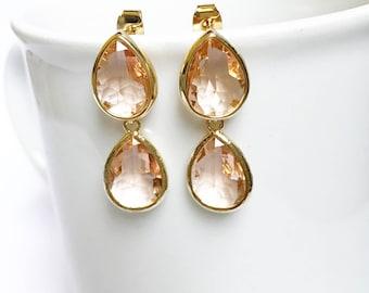 Champagne blush gold dangle tear drop earrings, wedding earrings, bridal jewelry, bridesmaids earrings, gift, sister, mother, wife