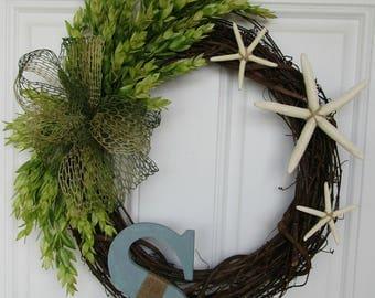 Grapevine wreath, Starfish wreath, Beach wreath, Summer Wreath,  Indoor Outdoor Wreath, Welcome Wreath