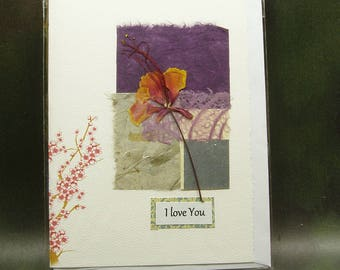 I Love You Card/ Hand Made Greeting Card/ Natural Flower/ Cherry Blossom/ hand made papers