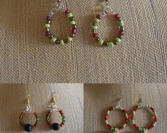 Hoop Earrings, Colorful Hoop Earrings, African Bead Earrings,Artisan Earrings, Bead earrings,Colorful girls earrings,African Christmas Beads