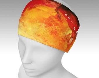 Red Orange Headband, Hair accessories, Stretch Headband, Turban, Yoga Headband,Artsy Headband, Hair Wrap, Scrungie, Boho, Bandeau, Colorful