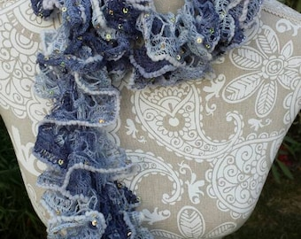 Blue Ruffle Scarf, Blue Scarf, Jean Ruffle Scarf, Jean Scarf, Gift for Her, Teacher's Gift, Women's Scarf, Fashion Accessory, Ruffle Scarf
