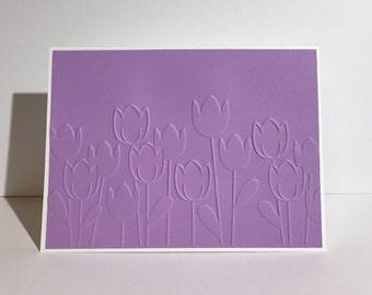 Purple Tulips, embossed