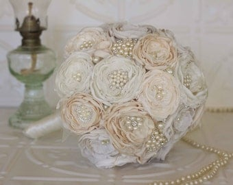 Fabric Flower Bouquet, Satin and Lace and Brooch Bridal Bouquet, shabby chic flowers, Ivory and Cream