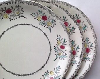 Three Side Plates from Broadhurst Ironstone Handpainted Mayfield Pattern
