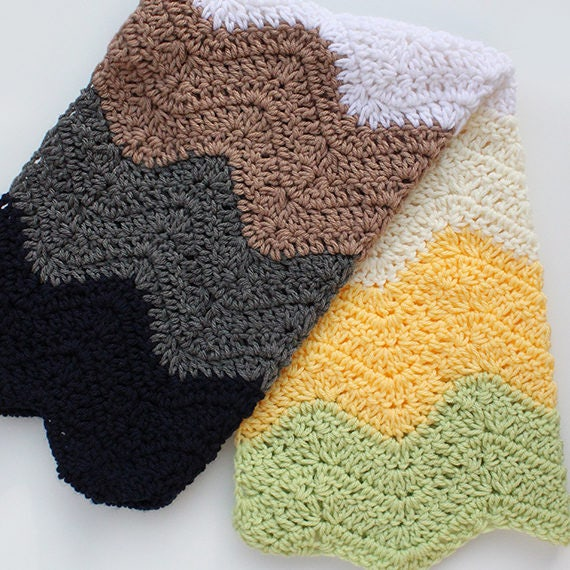 PDF Crochet Pattern - Modern Ripple Striped Car Seat Blanket