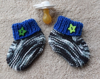 Hand knitted  & Embellished Baby Booties. Size 0-3 months.