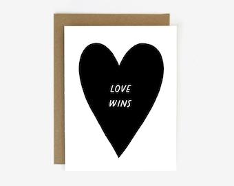 LOVE WINS Screen Printed Folding Greeting Card
