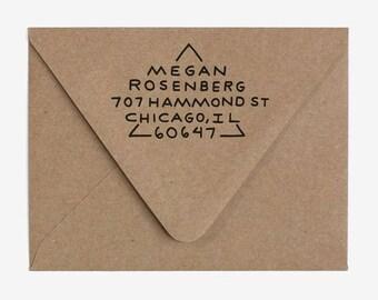 Triangle - Custom Hand Lettered Return Address Stamp