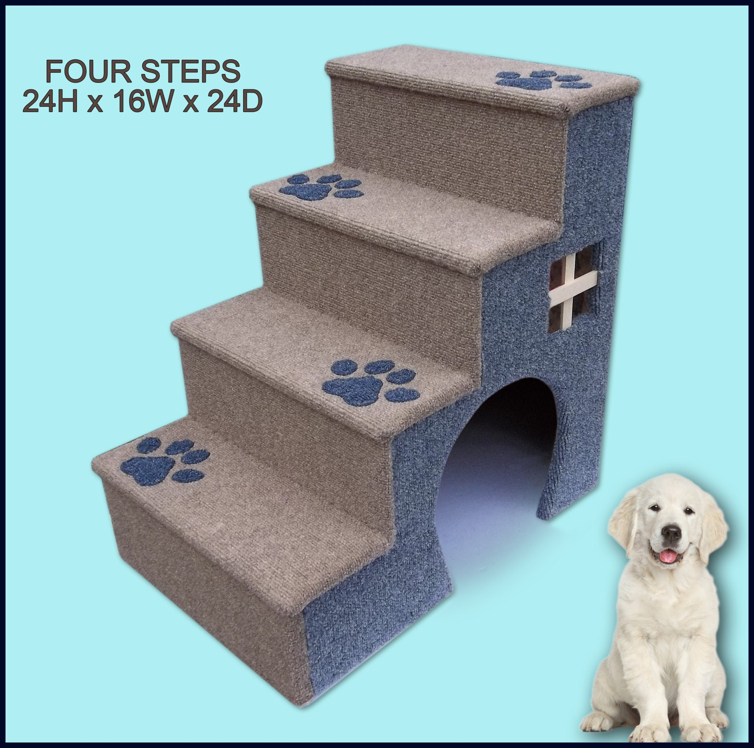 24 Inches Tall Wooden Dog Steps Pet Stairs