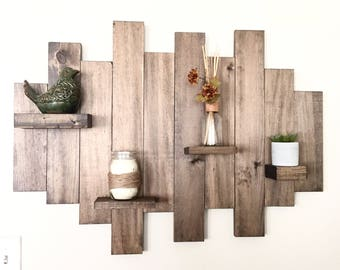 Wood wall shelf, floating shelf, pallet shelf, wood wall art, rustic decor, farmhouse decor, wood furniture, reclaim wood, pallet furniture