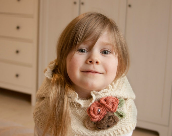 CROCHET PATTERN hooded cowl Amelia with flowers and ruffle (baby, toddler, child and adult sizes)
