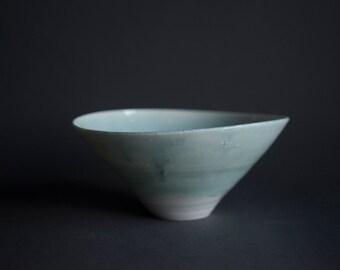 Handmade wheel thrown porcelain bowl turquoise light blue pastel, unique crystalline handmade