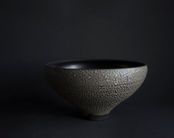 Handmade one-of unique stoneware bowl, wheel thrown, textured crawl glaze, natural nordic minimal handcrafted