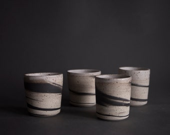 Set of 2 handmade wheel thrown espresso coffee cup, nordic minimal marbled natural stoneware