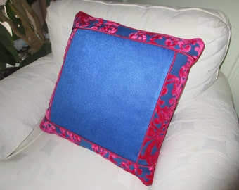 "Striking Magenta / Rose Royal Blue Sofa Couch Cushion Pillow Cover 20"" x 20"""