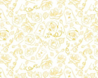 Gold The Rose Cotton Woven fabric from Beauty and The Beast by Camelot