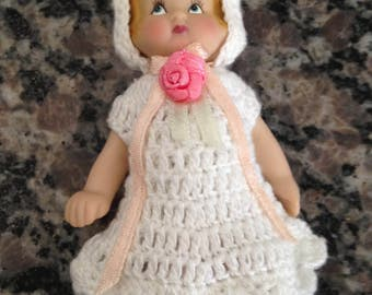 Little Doll with Crochet White Outfit