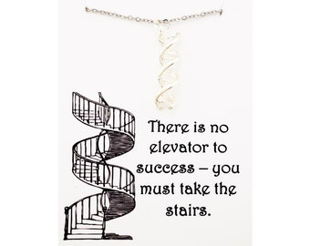Elevator to success necklace - personal inspirational jewelry - inspirational necklace - gift for inspiration - dna necklace -