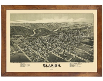 Clarion, PA 1896 Bird's Eye View; 24x36 Print from a Vintage Lithograph
