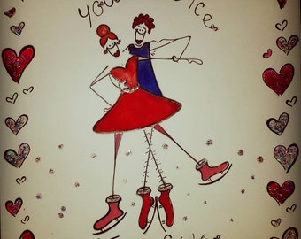 Hand drawn Lublie card - ' You're The Ice To My Skates' 8 inches wide by 8 inches wide