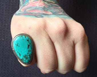 Vintage Southwestern Turquoise + Sterling Silver Ring Size 6