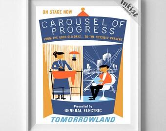 Vintage Disneyland, Print, Disneyland Poster, Carousel of Progress, Tomorrowland, Vintage Print, Home Decor, Giclee Art, 4th of July