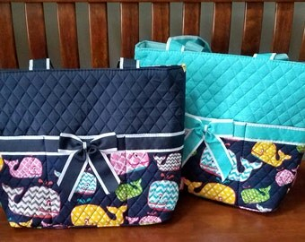 Diaper Bags--WHALES---Monogrammed/ Baby Gift/ Boys/ Girls- WHALES