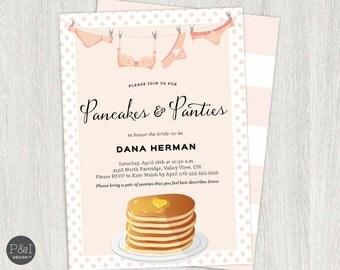 Pancakes and Panties Bridal Shower Invitation | DIY Printable Digital File  (5x7)