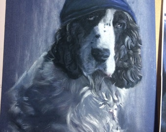 "Custom pet Portrait LARGE 24"" x18""  painted on canvas or drawn in pastel direct from artist studio"