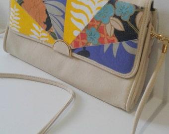Upcycled bag - convertible clutch, vegan bag, beige handbag, crossbody bag, floral bag, Japanese bag, upcycled clutch, vegan clutch, eco bag