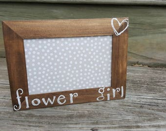 Flower Girl Picture Frame- Rustic Wedding Frame- Bridal Party Gift