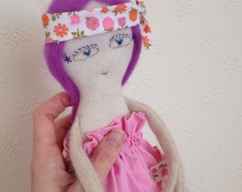 Cashmere doll // wool stuffing and purple hair pink  // handmade UK seller