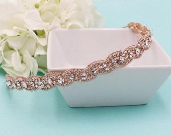 Rose Gold Bridal Headband, Swarovski crystal rhinestone wedding headband, rose gold hair accessories, headband headpiece, tiara 505891579