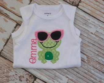 Personalized Summer Bodysuit or Shirt with Frog, Sunglasses, and Name