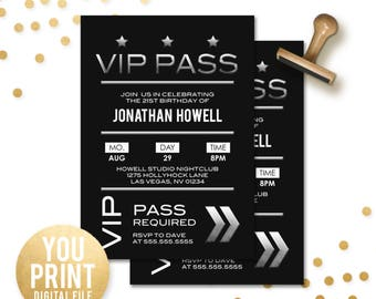 VIP Birthday Invitation, VIP Pass Party Invite, 21st birthday invite, Vip birthday Invitation, Vip Pass Birthday Invite, DIGITAL You Print