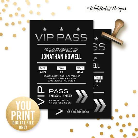 Vip birthday invitation vip pass party invite 21st birthday like this item stopboris Image collections
