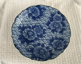 Cobalt Blue on White Porcelain Floral Dish, Takahashi Cobalt Blue Floral Dish, Asian Dish, Takahashi Bowl, Takahashi Chrysanthemum Dish
