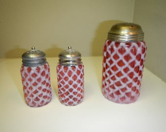 Antique Cranberry Opalescent Sugar Muffineer and Shakers