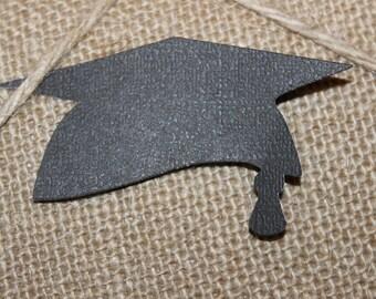 Midnight Black Graduation Cap Cutout Textured Premium Cardstock