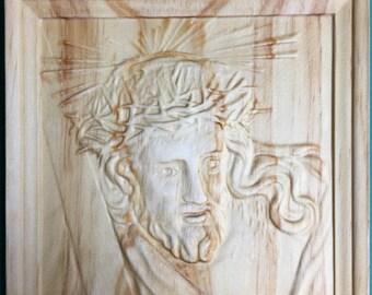 3D Jesus Face Carved in Frame - Religous Jesus