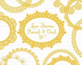 Sunshine Round Lace Frames Clipart & Vectors - Sunshine Lace Frames, Sunshine Vector Lace, Yellow Lace