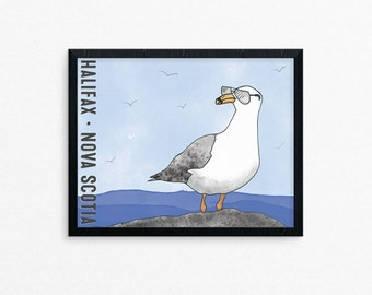 Fun Seagull Wall Art Print Halifax Nova Scotia