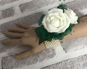 Ivory and Green Wrist Corsage,  Wedding Bracelet, Prom Corsage,  Wedding Corsage, Rose Corsage, Prom Bracelet, Ivory and Green Wristlet,