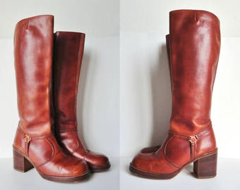 70s Leather Boots With Chunky Heel // Size EU 41 // Made In Brazil
