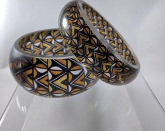 African mud cloth from Kuba people patterned bangle bracelet