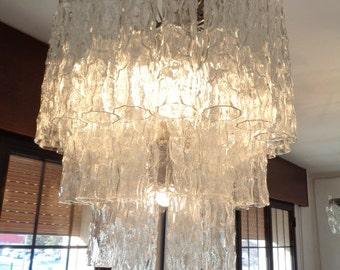 Murano Glass textured tubes chandelier