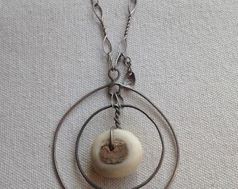 African bone bead orbital necklace