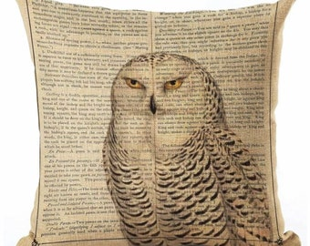 Stately Hedwig Owl on Newspaper - Pillow Cover