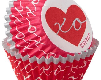 Heartfelt Valentine Mini Cupcake Liners Baking Cups Muffin Cups - baking supplies, mini baking cups, cupcake supplies